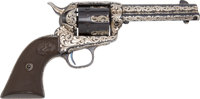 **Colt Single Action Revolver With Appliqued Silver Scrolls