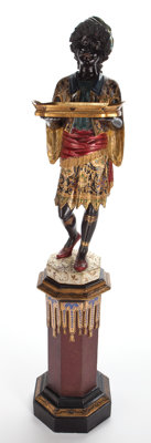 Ray & Clare Stern Estate  CARVED POLYCHROME AND EBONIZED WOOD FIGURE OF A BLACKAMOOR WITH TRAY ON INTEGRATED BASE&am...