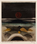 Prints:European Modern, FROM THE ESTATE OF DR. EDMUND P. PILLSBURY. TUVIA BEERI (Israeli,b. 1929). Untitled. Color aquatint and etching. 7-3/...