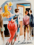 Pulp, Pulp-like, Digests, and Paperback Art, JACK COLE (American, 1914-1958). Waiting in Line, Playboycartoon illustration, page 65, April 1958. Watercolor andgoua...