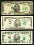 Error Notes:Error Group Lots, Fr. 1963-B $5 1950B Federal Reserve Note. Fine;. Fr. 1979-E $5 1988Federal Reserve Note. Very Fine;. Fr. 1985-F $5 19... (Total: 3notes)
