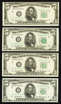 Fr. 1963-E $5 1950B Federal Reserve Notes. Four Examples. Crisp Uncirculated-Choice Crisp Uncirculated