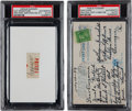 Baseball Collectibles:Others, 1930's Honus Wagner Signed Postcard & Cut Signature....