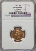 Three Dollar Gold Pieces: , 1883 $3 --Polished-- NGC Details. AU. NGC Census: (5/104). PCGSPopulation (7/163). Mintage: 900. Numismedia Wsl. Price for ...