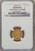 Classic Quarter Eagles: , 1838 $2 1/2 --Improperly Cleaned-- NGC Details. AU. NGC Census:(18/182). PCGS Population (18/78). Mintage: 47,030. Numismed...