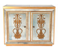 Furniture : American, AMERICAN PAINTED AND MIRRORED BAR CABINET WITH EGLOMISÉ PANELS . Circa 1950. 39-3/4 x 48-1/8 x 17-1/2 inches (101.0 x 122.2...