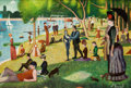 Pulp, Pulp-like, Digests, and Paperback Art, JIM BEAMAN (American, 20th Century). Playboy's Art Gallery:Afternoon at La Grande Jatte: The Munsters, page 181, May 19...