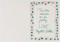 """Books:Signed Editions, Phyllis Diller. Christmas Card Designed by Diller. Printed signature with """"Diller Art 2001"""" printed on rear. From Diller to ..."""