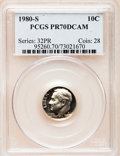 Proof Roosevelt Dimes: , 1980-S 10C PR70 Deep Cameo PCGS. PCGS Population (170). NGC Census:(51). Numismedia Wsl. Price for problem free NGC/PCGS...