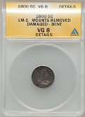 Early Half Dimes: , 1800 H10C --Bent, Damaged, Mount Removed-- ANACS. VG8 Details.LM-1. NGC Census: (0/142). PCGS Population (7/238). Mintage:...