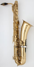 Musical Instruments:Horns & Wind Instruments, Circa 1927 Buescher True-Tone Low Pitch Brass Baritone Saxophone, Serial #224549....