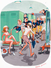 """BUCK BROWN (American, 1936-2007) """"Don't Any of You Leave Until You Each Promise Not to Tell"""", Playboy cartoon..."""