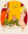 """Pulp, Pulp-like, Digests, and Paperback Art, GARDNER REA (American, 1892-1966). """"Waiter, What Is ThisG-String Doing in My Soup?"""", Playboy cartoon illustration, page..."""