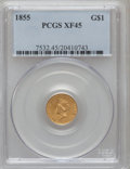 Gold Dollars: , 1855 G$1 XF45 PCGS. PCGS Population (250/2760). NGC Census:(170/4666). Mintage: 758,269. Numismedia Wsl. Price for problem...