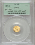 California Fractional Gold: , 1854 $1 Liberty Octagonal 1 Dollar, BG-532, Low R.4, AU55 PCGS.PCGS Population (36/59). NGC Census: (1/20). (#10509)...