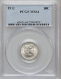 Barber Dimes: , 1912 10C MS64 PCGS. PCGS Population (229/183). NGC Census:(239/183). Mintage: 19,350,000. Numismedia Wsl. Price for proble...