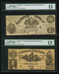 Confederate Notes:Group Lots, T14 $50 1861.. T37 $5 1861.. ... (Total: 2 notes)