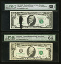 Error Notes:Ink Smears, Fr. 2020-G $10 1969B Federal Reserve Note. PMG Gem Uncirculated 65EPQ; Fr. 2030-B $10 1993 Federal Reserve Note. PMG Choice U...(Total: 2 notes)