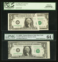 Error Notes:Gutter Folds, Fr. 1907-B $1 1969D Federal Reserve Note. PMG Choice Uncirculated 64 EPQ. Fr. 1910-I $1 1977A Federal Reserve Note. PCGS C... (Total: 2 notes)
