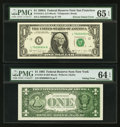 Error Notes:Inking Errors, Fr. 1916-L $1 1988A Federal Reserve Note. PMG Gem Uncirculated 65EPQ; Fr. 1921-B $1 1995 Federal Reserve Note. PMG Choice Unc...(Total: 2 notes)