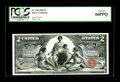 Large Size:Silver Certificates, Fr. 248 $2 1896 Silver Certificate PCGS Gem New 66PPQ. A gorgeous Educational Deuce, with broad, even margins, wonderful col...