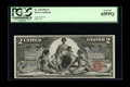 Large Size:Silver Certificates, Fr. 248 $2 1896 Silver Certificate PCGS Gem New 65PPQ. Minutelyskewed centering on both sides is likely all that kept this ...
