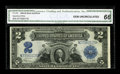 Large Size:Silver Certificates, Fr. 258 $2 1899 Silver Certificate CGA Gem Uncirculated 66. This note is the plate position D note from the cut sheet offere...