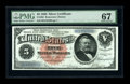 Large Size:Silver Certificates, Fr. 262 $5 1886 Silver Certificate PMG Superb Gem Unc 67. This notelast appeared in our September 2005 Long Beach sale wher...