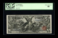 Large Size:Silver Certificates, Fr. 268 $5 1896 Silver Certificate PCGS Choice About New 58. A beautifully centered $5 Ed with great eye appeal that appears...