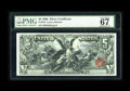 Large Size:Silver Certificates, Fr. 270 $5 1896 Silver Certificate PMG Superb Gem Unc 67EPQ. Wepreviously sold this note in June of 1994 for $5,500. The Fr...