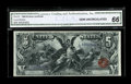 Large Size:Silver Certificates, Fr. 270 $5 1896 Silver Certificate CGA Gem Uncirculated 66. Fr. 270is by far the scarcest of the Educational Fives. This ex...