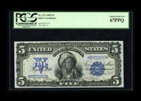 Fr. 271 $5 1899 Silver Certificate PCGS Superb Gem New 67PPQ. This note is simply perfect and as nice a Chief as any we'...