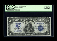 Fr. 274 $5 1899 Silver Certificate Star Note PCGS Very Choice New 64PPQ. This is a sharp looking star that we have sold...