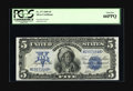 Large Size:Silver Certificates, Fr. 277 $5 1899 Silver Certificate PCGS Gem New 66PPQ. A lovelyChief with excellent margins, deep original embossing, and p...