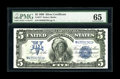 Large Size:Silver Certificates, Fr. 277 $5 1899 Silver Certificate PMG Gem Uncirculated 65. A bit of handling is noticed at right, which precluded an EPQ mo...