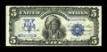 Large Size:Silver Certificates, Fr. 278 $5 1899 Silver Certificate Very Fine+. Plenty of punchthrough embossing is seen on this pleasing Chief. However som...