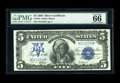 Large Size:Silver Certificates, Fr. 279 $5 1899 Silver Certificate PMG Gem Uncirculated 66 EPQ. Thepremium quality original embossing is easy to see throug...