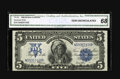 Large Size:Silver Certificates, Fr. 281 $5 1899 Silver Certificate CGA Gem Uncirculated 68. This isa wonderful Chief that has been awarded with a wonder gr...