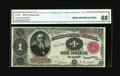 Fr. 350 $1 1891 Treasury Note CGA Gem Uncirculated 68. A lovely Stanton with ideal centering of both sides, broad, even...