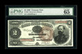 Large Size:Treasury Notes, Fr. 353 $2 1890 Treasury Note PMG Gem Uncirculated 65 EPQ. No stranger to public appearances, this Fancy Back Treasury Note ...