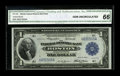 Fr. 708 $1 1918 Federal Reserve Bank Note CGA Gem Uncirculated 66. This is a well centered Gem with a distinctively bold...
