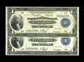 Fr. 734 $1 1918 Federal Reserve Bank Notes Two examples. This is a neat pair of circulated notes. One note is a solid Fi...