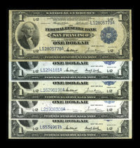 Fr. 743 (2), Fr. 744, Fr. 745, Fr. 746 $1 1918 Federal Reserve Bank Notes Five Examples. There are couple original VF-XF...