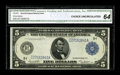 Large Size:Federal Reserve Notes, Fr. 879a $5 1914 Federal Reserve Note CGA Choice Uncirculated 64. Though this note is previously unreported, two other notes...