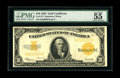 Large Size:Gold Certificates, Fr. 1173 $10 1922 Gold Certificate PMG About Uncirculated 55. This lightly circulated Hillegas issue has toned a touch which...