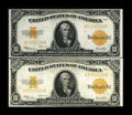 Large Size:Gold Certificates, Fr. 1173 $10 1922 Gold Certificates Two Examples Very Fine. This pair shows clearly the subtle differences between the inks ... (Total: 2 notes)