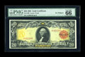 Large Size:Gold Certificates, Fr. 1180 $20 1905 Gold Certificate PMG Gem Uncirculated 66 EPQ.This is a magnificent Type note with a pedigree to match, ha...