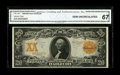 Large Size:Gold Certificates, Fr. 1181 $20 1906 Gold Certificate CGA Gem Uncirculated 67. This isa better Friedberg number for $20 Golds with huge margin...