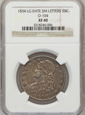 Bust Half Dollars, 1834 50C Large Date, Small Letters XF40 NGC. O-104. PCGS Population(46/353). (#6165)...