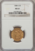 Liberty Half Eagles: , 1888-S $5 MS61 NGC. NGC Census: (36/22). PCGS Population (12/28).Mintage: 293,900. Numismedia Wsl. Price for problem free ...